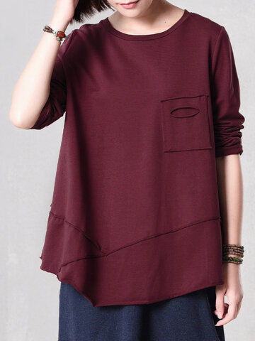 Casual Women Solid Irregular Blouse