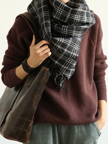 Винтаж Loose Basic Women Sweater
