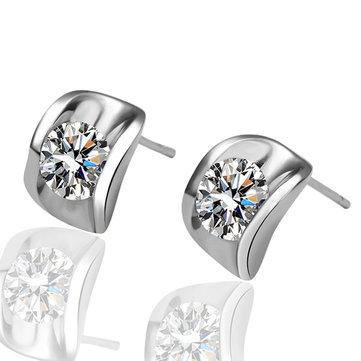 JASSY Classic Zirconia Earrings Silver Gold Plated Ear Stud Earrings Gift for Her