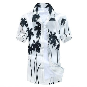 Mens Aloha Beach Quick Dry Coconut Tree Printing Loose Casual Dress Shirts