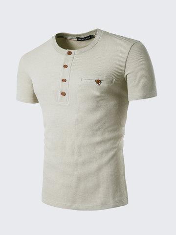 Мужская круглая шея Кнопки Дышащая хлопчатобумажная футболка с коротким рукавом Весна Лето Повседневные топы