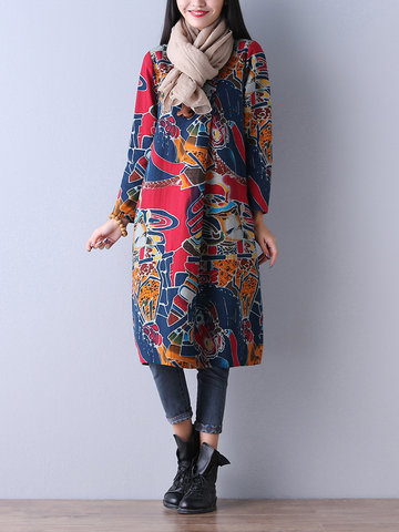 O-Newe Loose Printed Long Sleeve O-Neck Dress For Women