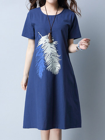 Casual Women Feather Printed O-Neck Short Sleeve Dress