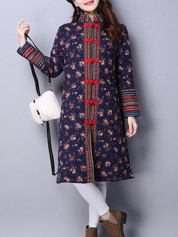 Китайский стиль цветочные печатные кнопки летать пальто для женщин