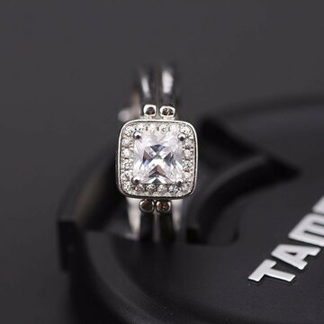 Double Side S925 Silver Sweet Square Zircon Ring