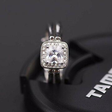 Двустороннее S925 серебряное кольцо из циркона