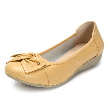 Big Size Bowknot Pure Color Slip On Flat Casual Shoes
