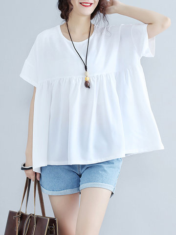 Loose Women Solid Short Sleeve O-Neck Ruffled Pullover T-Shirt