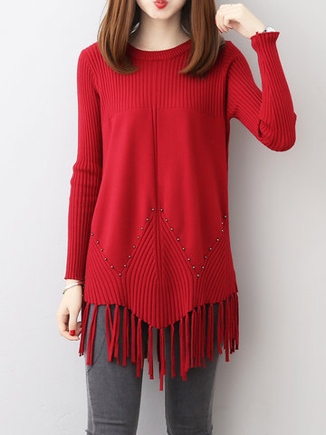 Casual Tassels Patchwork Women Sweaters