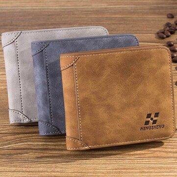 Мужская скраб PU Мульти-карточный бит-кошелек Держатель для SIM-карты Сумка-кошелек