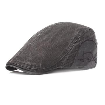 Mens Vintage Washed Cotton Breathable Beret Cap Casual Newsboy Adjustable Golf Cabbie Hat
