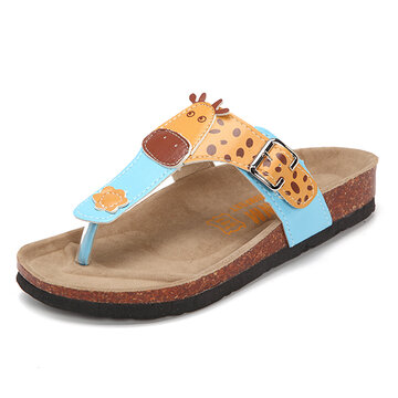 Animal Printing Clip Toe Buckle Flip Flops Slippers