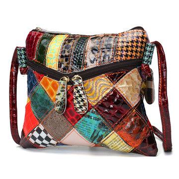 Случайные Patchwork Красочные натуральной кожи Crossbody сумка Сумка для женщин