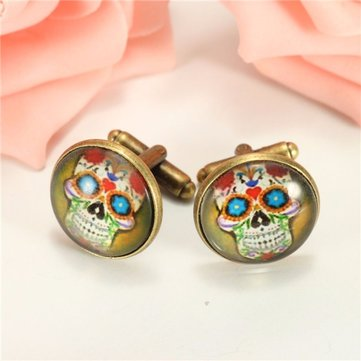 Printing Skull Pattern Cufflinks Round Cuff Links For Shirt Accessories