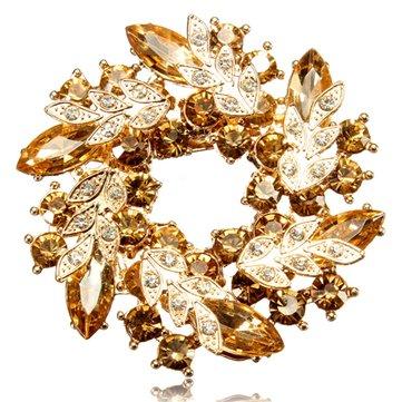 Flower Bouquet Crystal Brooch Pin