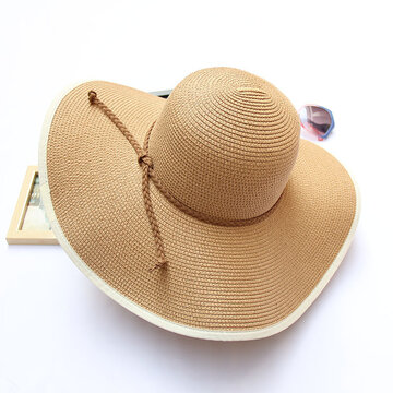 Women Summer Foldable Solid Panama Style Beach Straw Hat Casual Travel Wide Brim Visor Sun Hat