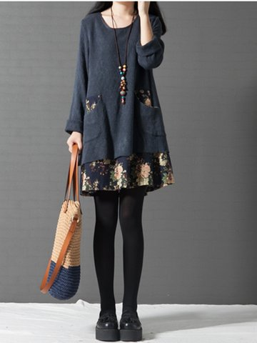 Vintage Patchwork Pocket Floral Printed Elegant Long Sleeve Dress