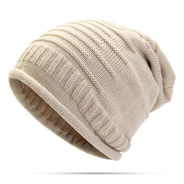 Women Knitted Woolen Stripe Beanie Cap
