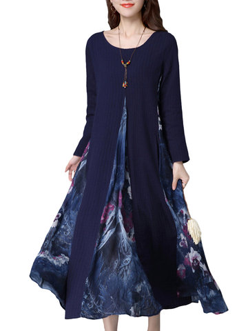 O-NEWE Ethnic Vintage Printed Patchwork Long Sleeve Maxi Dress For Women