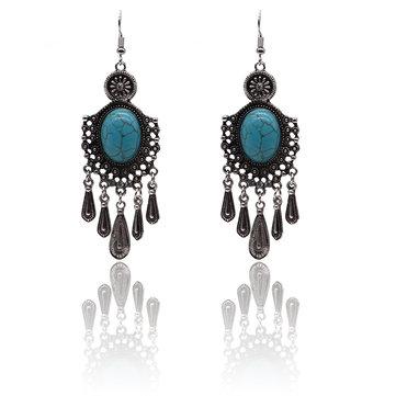 Bohemian Alloy Turquoise Water Drop Tassel Rhinestone Earrings
