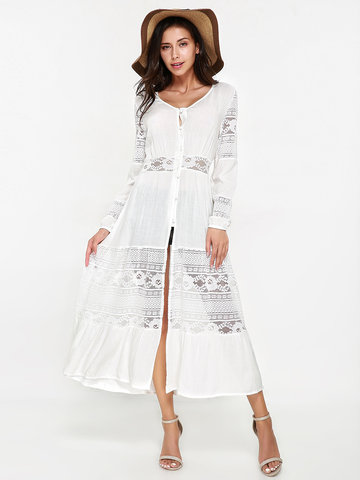 Women Long Sleeve Lace Stitching V-neck Maxi Dresses