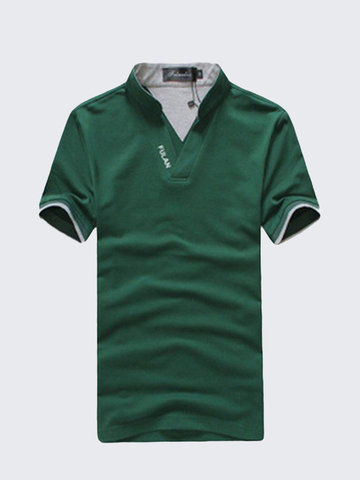 Plus Size Men's Summer Solid Polo Shirt Stand Collar Short-Sleeved T-shirt Casual Cotton Tees