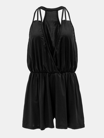Women Sexy Backless Sleeveless Deep V Jumpsuit