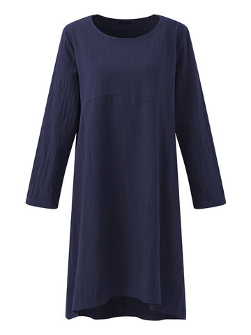 Brief Casual Loose Solid Color O-Neck Long Sleeve Women Dresses