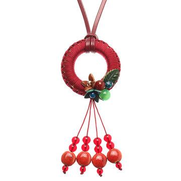 Women's Retro Necklace Leather Ethnic Agate Flower Ceramic Tassel Necklace