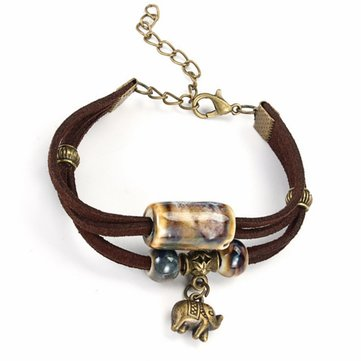 Ethnic Style Jewelry Multilayer Ceramic Elephant Rope Bracelet