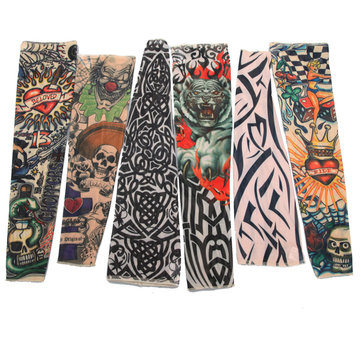 Goth Nylon Stretchy Ложная татуировка Leopard Рукава с рукавом
