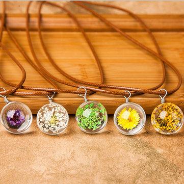 Желающий Шарик Сухие Цветы Искусственный Кристалл Подвеска Ключица Восковая Веревка Ожерелье