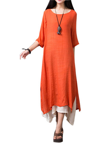 Gracila Layered Split Solid Half Sleeve Vintage Elegant Women Dresses