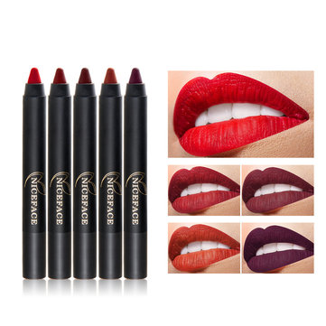 NICEFACE Matte Lip Stick Long Lasting Waterproof Cutlable Sexy Red Nude Color Cosmetics