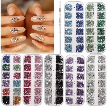 3000Pcs 2mm Round Glitter Rhinestone Bead Diamand Gems Manicure With Wax Picker Pencil
