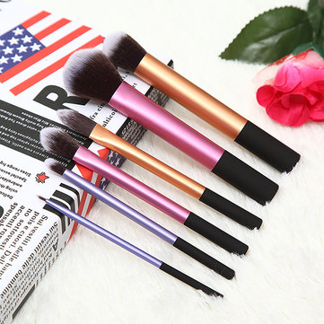 6Pcs Aluminum Handle Makeup Brush Set Foundation Eye Shadow Blending Cosmetic Kit