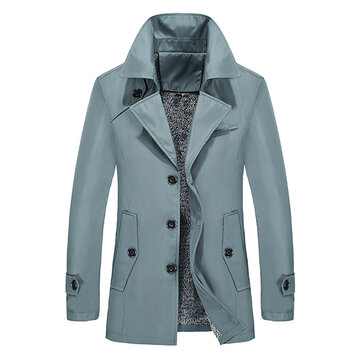 Business Casual Single Breasted Trench Coat Winter Warm Thick Plus Velvet Jacket for Men