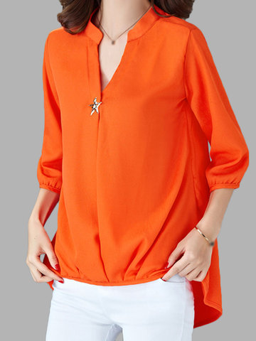 Casual Pure Color V Neck Chiffon Shirts For Women