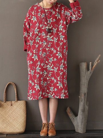 Women Casual Loose Floral Printed O-Neck Long Sleeve Dresses