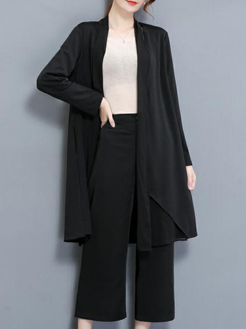 Elegant Solid Pockets Patchwork Long Sleeve Kimonos For Women