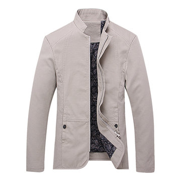 Stylish Stand Collar Solid Color Cotton Jackets for Men