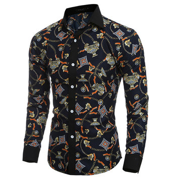 Personality 3D Printing Slim Long Sleeve Designer Shirts for Men