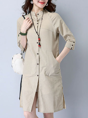 Casual Women Solid Stand Collar Button Side Split Cardigan