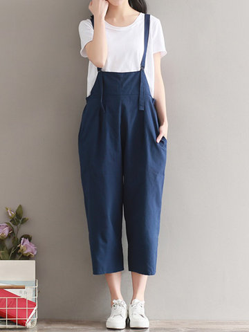 Casual Women Solid Strap Back Cross Pockets Jumpsuits