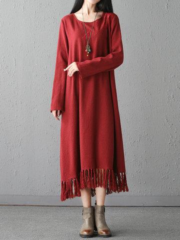 Повседневная свободная вышивка Tassel Hem Solid Color Women Dresses