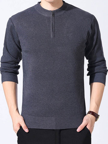 Mens Brief Zipper Half-cardigans Pullover Fall Winter Warm Thick Casual Sweater