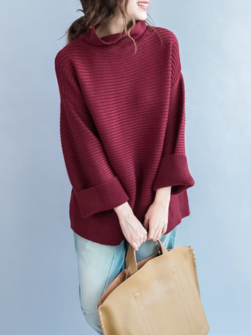 Casual Loose Solid Color Turtleneck Long Sleeve Women Sweate