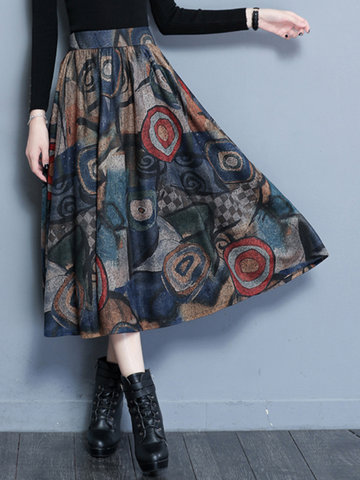 Woolen Print Pleated Women Maxi Skirts