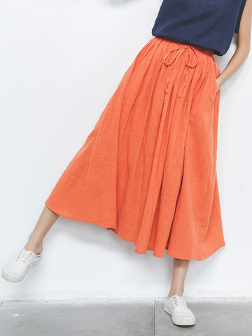 Casual Pure Color Elastic Waist Skirts For Women