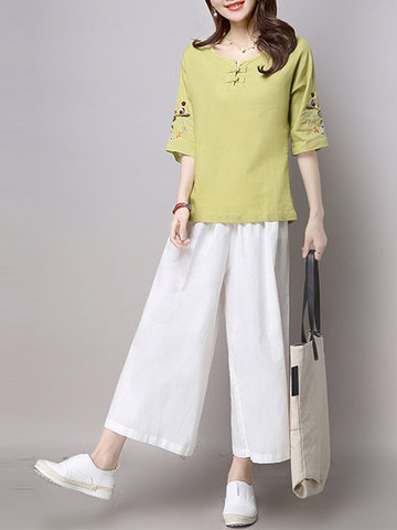 Vintage Embroidery Chinese Button T-shirts Wide Leg Pants Two-piece Outfits